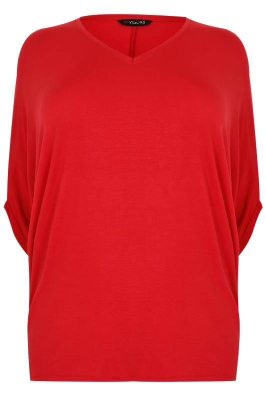 Red V Neck Oversized Cape Style Jersey Top Plus Size 16 To 36
