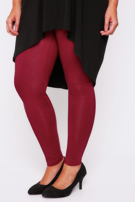 "Red Viscose Elastane Leggings - 28"" Leg"