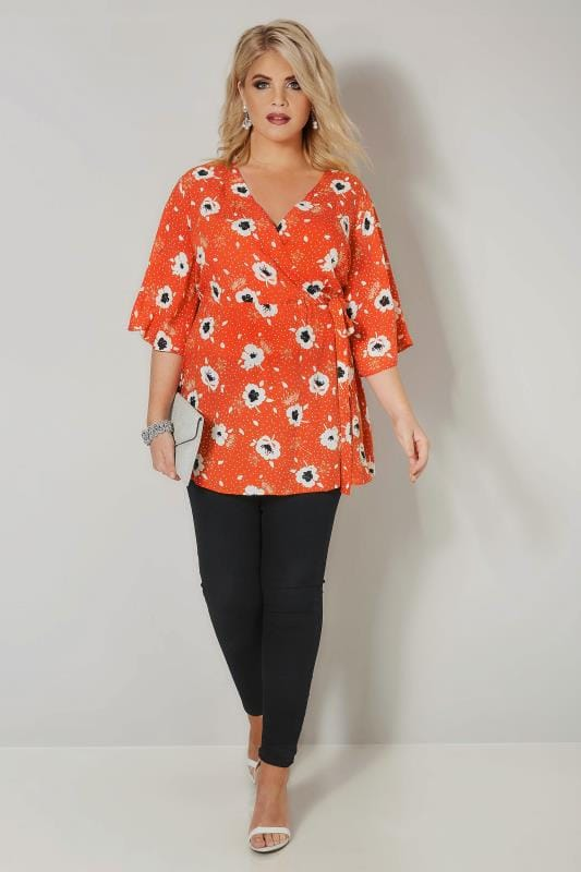 YOURS LONDON Red & White Poppy Wrap Blouse With Kimono Sleeves