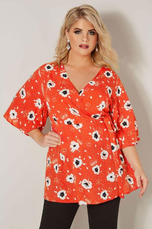 Plus Size Blouses YOURS LONDON Red & White Poppy Wrap Blouse With Kimono Sleeves