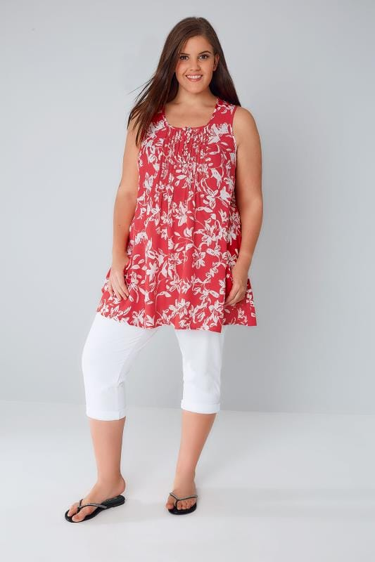 Red & White Floral Tunic With Front Pockets