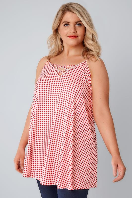 Red & White Gingham Longline Cami Vest Top With Cross Front Detail