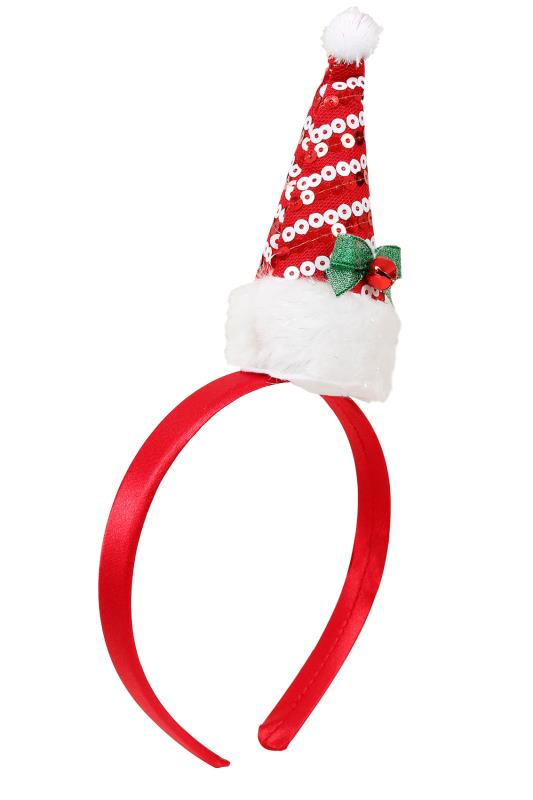 Hair Accessories Red & White Sequin Father Christmas Hat Headband 102879