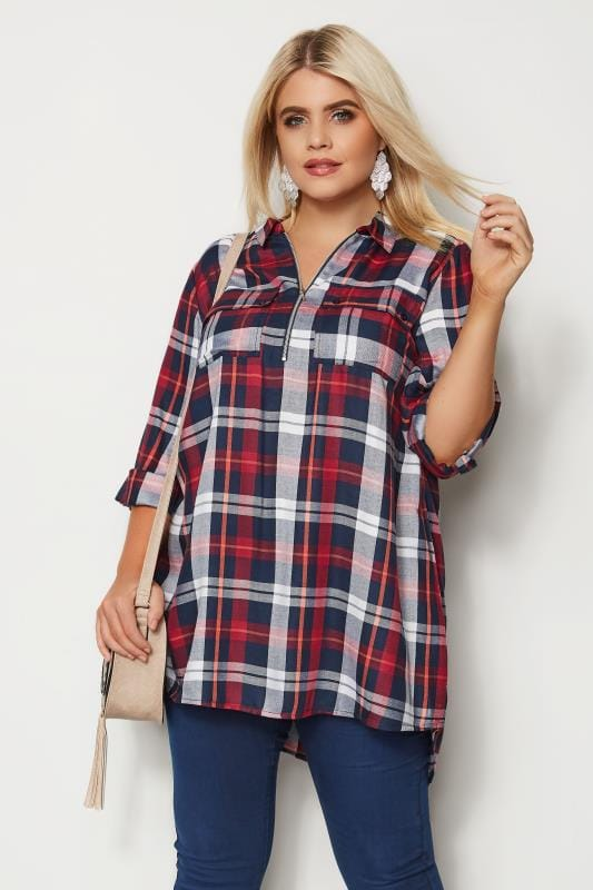 Plus Size Shirts Red Zip Through Check Shirt