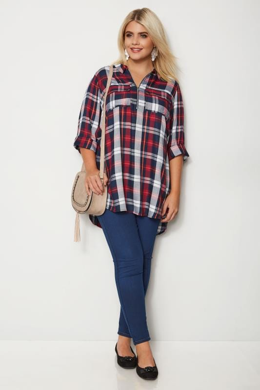 Red Zip Through Check Shirt