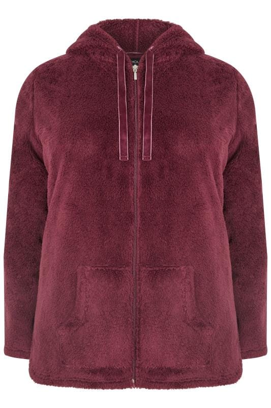Plus Size Fleeces Red Zip Through Teddy Fleece