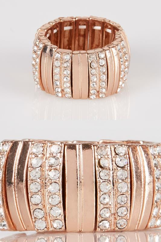 Plus Size Rings Rose Gold Chunky Stretch Ring With Diamante Detail