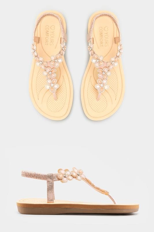 9aa2376e12e Wide Fit Sandals Rose Gold Diamante Flower Sandals