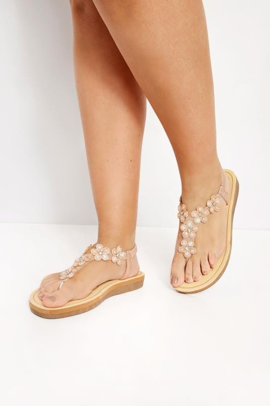 Wide Fit Sandals Rose Gold Diamante Flower Sandals