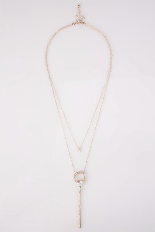 Rose Gold Double Layered Jewel & Diamante Necklace
