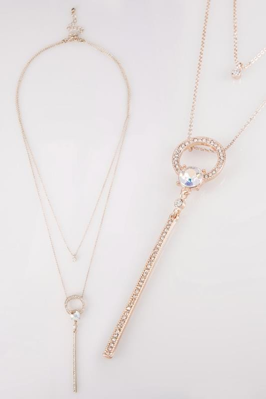 Rose Gold Layered Jewel & Diamante Necklace