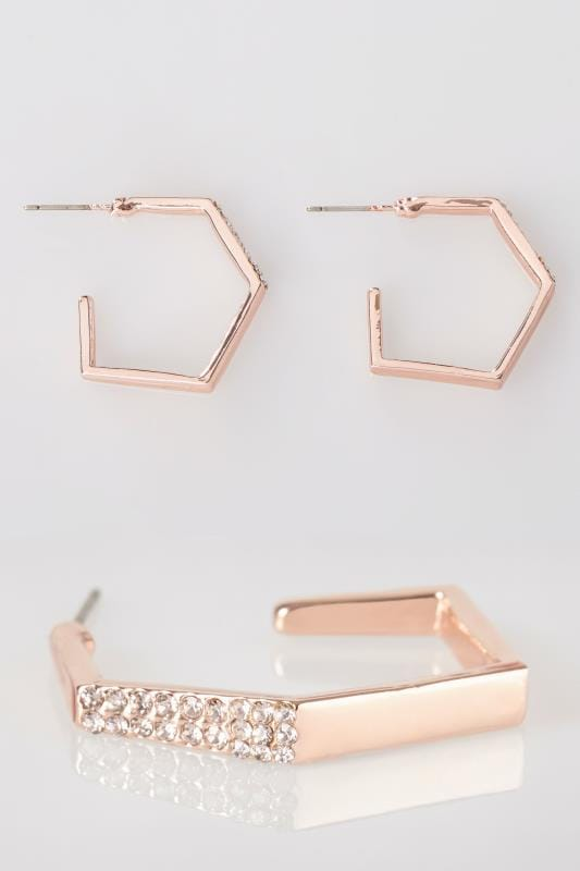 Plus Size Earrings Rose Gold Hoop Earrings With Diamante Details