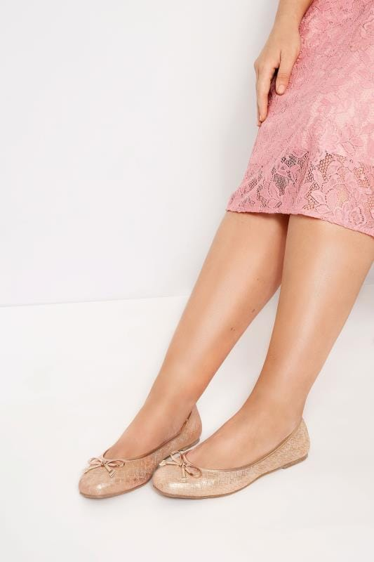 Plus Size Flats Rose Gold Textured Ballerina Pumps