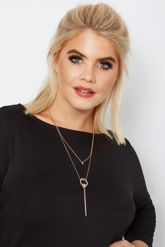 Plus Size Jewellery Rose Gold Layered Jewel & Diamante Necklace