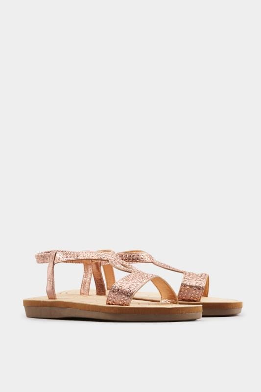 Rose Gold Twist Diamante Sandals