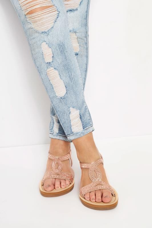 Wide Fit Sandals Rose Gold Twist Diamante Sandals