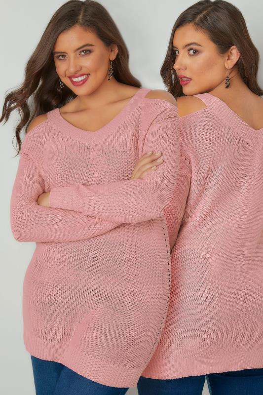 Jumpers Rose Pink Knitted Cold Shoulder Jumper With Pointelle Detail 124009
