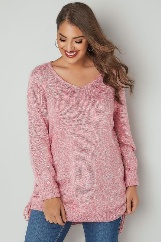 Rose Pink Knitted V-Neck Jumper With Lace Up Sides