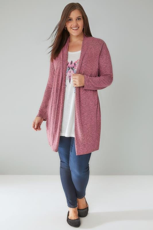 Rose Pink & Multi 2 In 1 Fine Knit Cardigan & Butterfly Print Top
