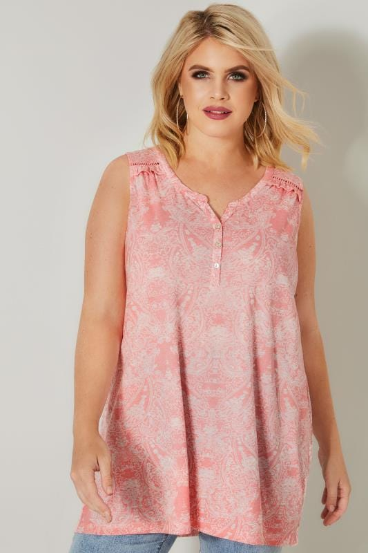 Plus Size Day Tops Rose Pink Paisley Sleeveless Burnout Top