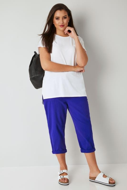 Royal Blue Cool Cotton Cropped Trousers