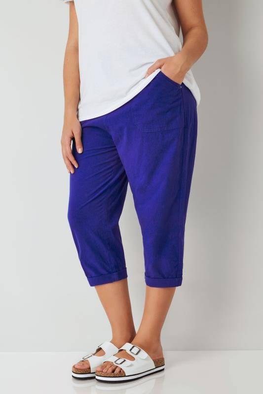 Plus Size Cool Cotton Crops Royal Blue Cool Cotton Cropped Trousers