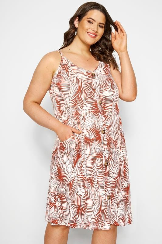 Plus Size Casual Dresses Rust Orange Palm Print Drape Pocket Dress
