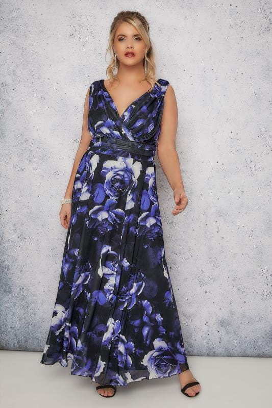 Plus Size Maxi Dresses SCARLETT & JO Black & Blue 'Marilyn' Floral Wrap Front Maxi Dress
