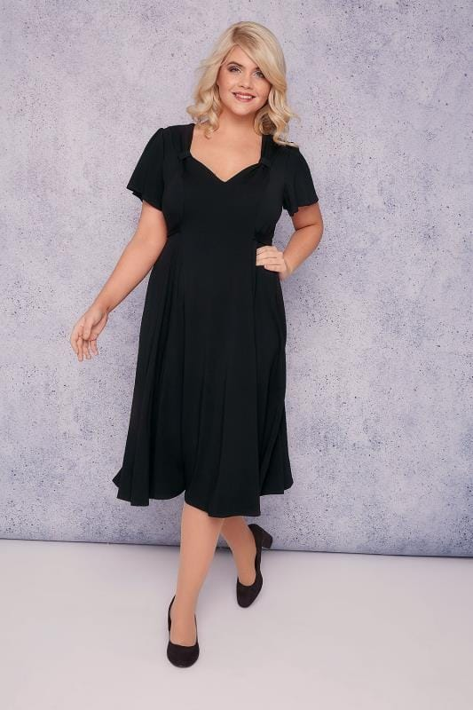 SCARLETT & JO Black Fit & Flare Dress With Waist Tie