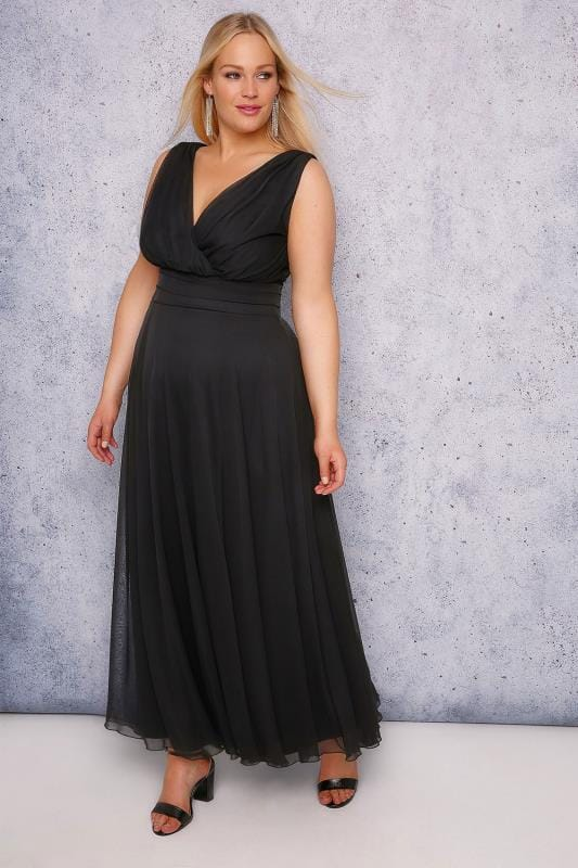 Plus Size Maxi Dresses SCARLETT & JO Black 'Marilyn' Wrap Front Maxi Dress
