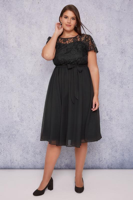SCARLETT & JO Black Midi Dress With Lace Top & Pleated Skirt