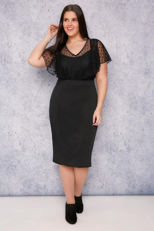 SCARLETT & JO Black Midi Dress With Polka Dot Mesh Overlay
