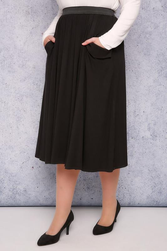 SCARLETT & JO Black Midi Skater Skirt With Drape Pockets