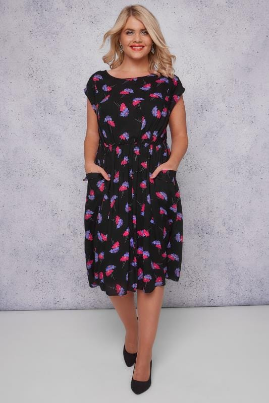 SCARLETT & JO Black & Multi Floral Midi Dress With Pockets