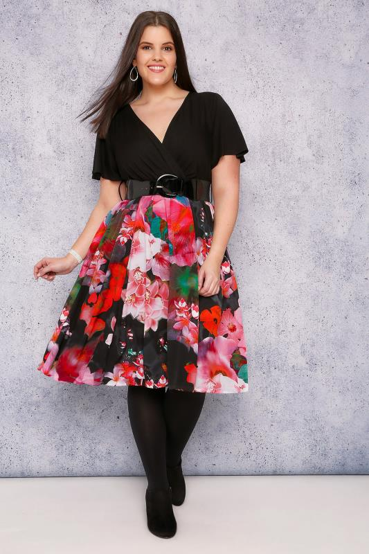 SCARLETT & JO Black & Multi Floral Print Belted Wrap Dress
