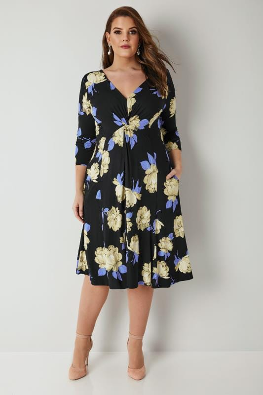 SCARLETT & JO Black & Multi Floral Print Midi Dress With Knot Front