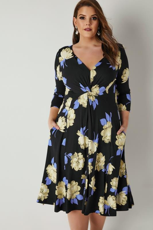 Plus Size Midi Dresses SCARLETT & JO Black & Multi Floral Print Midi Dress With Knot Front