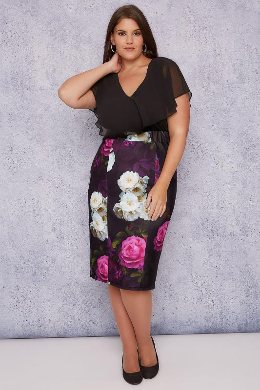 Grote maten Grote maten Midi-Jurken SCARLETT & JO Black, Purple & Multi Floral Print Midi Dress With Angel Sleeves