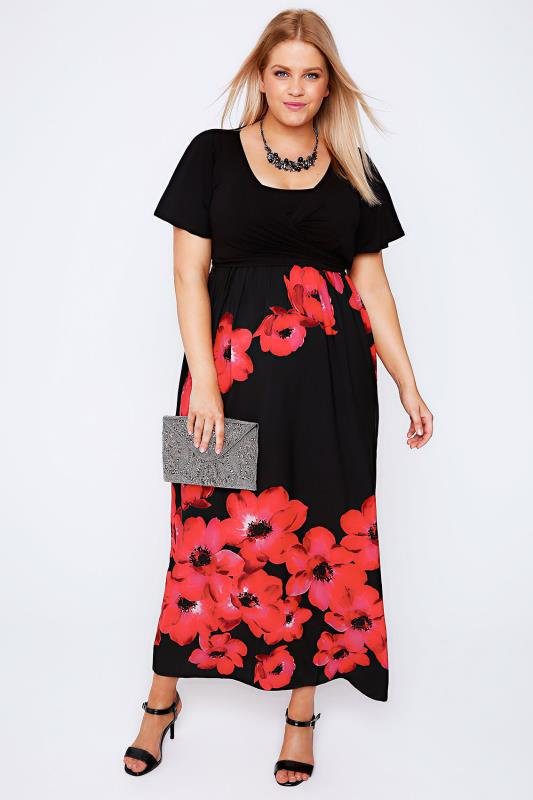 SCARLETT &amp JO Black &amp Red Poppy Print Wrap Front Maxi Dress Plus ...