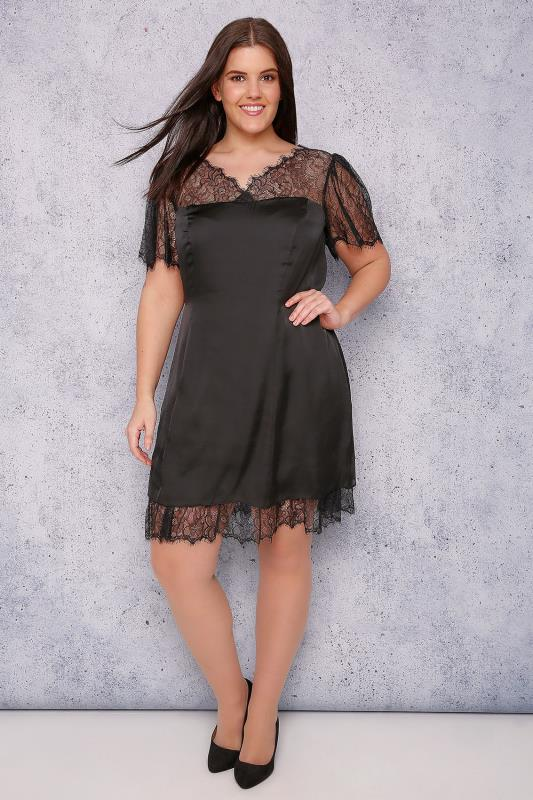 SCARLETT & JO Black Silky Dress With Lace Top & Trim
