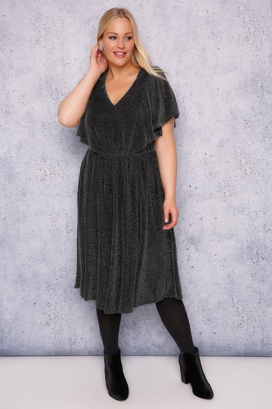 SCARLETT & JO Black & Silver Sparkle Dress With Angel Sleeves