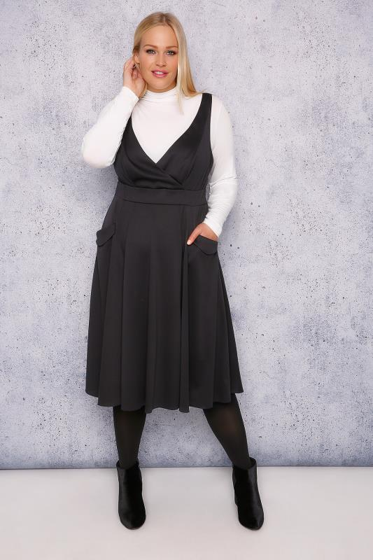 SCARLETT & JO Black Wrap Front Pinafore Dress