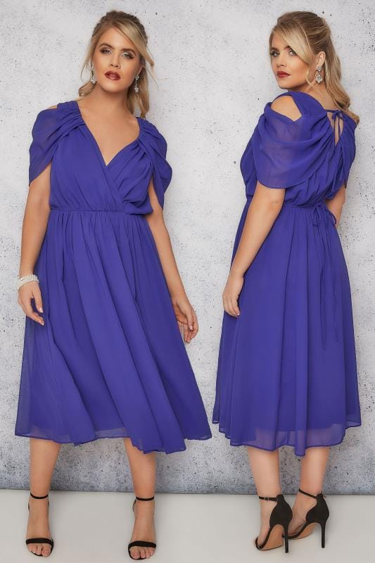 SCARLETT & JO Blue Chiffon Wrap Midi Dress