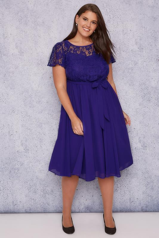SCARLETT & JO Blue Midi Dress With Lace Top & Pleated Skirt