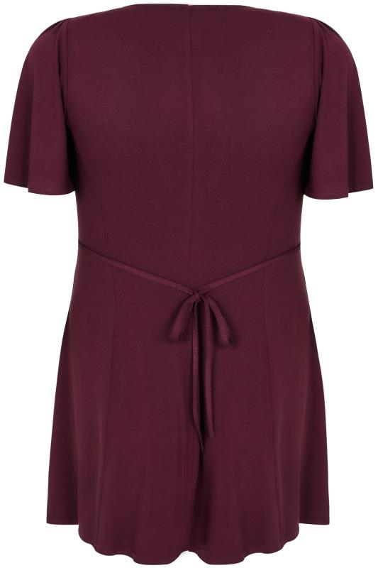 SCARLETT & JO Burgundy Jersey Knot Top With Waist Tie