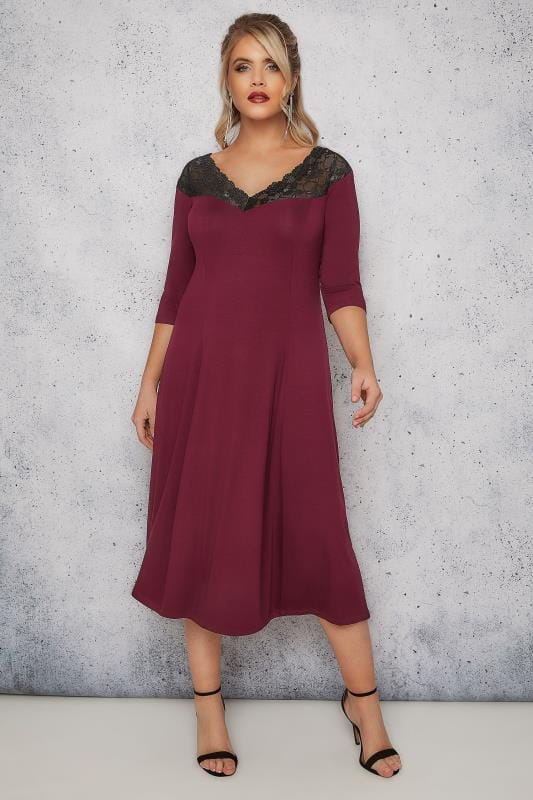 Grote maten midi jurken SCARLETT & JO Burgundy Lace Off-The-Shoulder Midi Jersey Dress 138699
