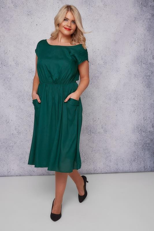 SCARLETT & JO Dark Green Midi Dress With Pockets