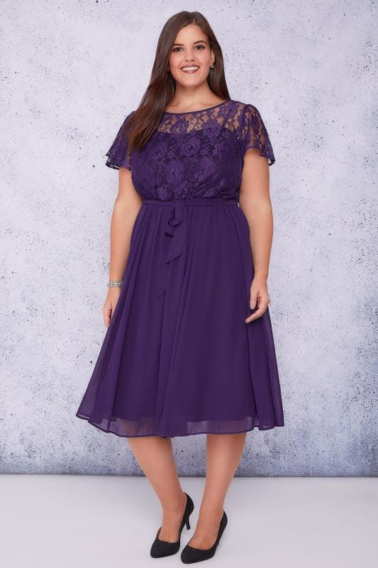 SCARLETT & JO Dark Purple Midi Dress With Lace Top & Pleated Skirt