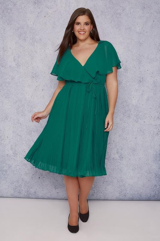 SCARLETT & JO Green Chiffon Pleat Skirt Midi Dress With Cape Detail
