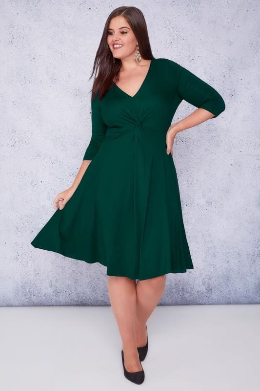 SCARLETT & JO Green Jersey Midi Dress With Knot Front Detail